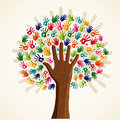 Colorful multi ethnic tree solidarity conceptual vector file layered for easy manipulation and custom coloring Stock Photo