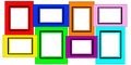 Colorful Multiple Blank Picture Frame Set Stock Images