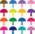 Colorful mushroom clipart