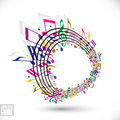 Colorful music background with clef and notes.