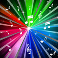 Colorful music background means beams light and songs meaning Stock Photography