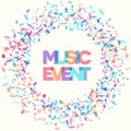 Colorful Music Event notes background. Vector Illustration