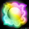 Colorful music swirl decorated frame label vector