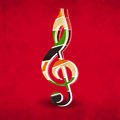 Colorful musical note on red background.