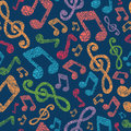 Colorful musical notes seamless pattern background with hand drawn elements Stock Images