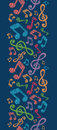 Colorful musical notes vertical seamless pattern vector background with hand drawn elements Royalty Free Stock Photos