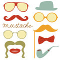 Colorful mustache party elements collection Royalty Free Stock Images