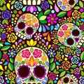 Sugar Skull Floral Naif Art Mexican Calaveras Vector Seamless Pattern Design Royalty Free Stock Photo