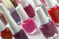 Colorful nail polish bottles closeup Royalty Free Stock Image