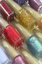 Colorful nail polish bottles closeup Royalty Free Stock Photography