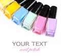 Colorful nail polish bottles manicure Stock Image