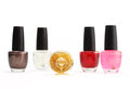 Colorful nail polish set on white background isolated Royalty Free Stock Photo