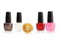 Colorful nail polish set on white background isolated Royalty Free Stock Photo