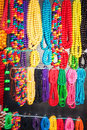 Colorful necklaces hanging group of multicoloured beads on street Royalty Free Stock Photo