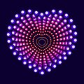 Colorful neon heart with circle elements, vector dot painting illustration