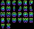 Colorful neon letters alphabet set made out of Stock Images