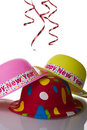 Colorful new year hats Royalty Free Stock Photos