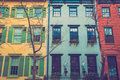 Colorful New York City Apartment Buildings Royalty Free Stock Photo
