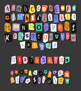 Colorful Newspaper alphabet. Hand made anonymous set. Vector Letters, numbers and punctuation marks Royalty Free Stock Photo