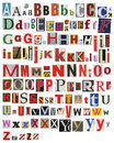Colorful newspaper magazine alphabet different size letters Stock Image