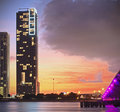 Colorful night view of city of Miami Florida Royalty Free Stock Photo