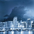 Colorful night view of city of Miami Florida Stock Photo