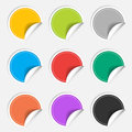 Colorful nine blank stickers set. Badge collection. Royalty Free Stock Photo