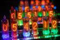Colorful nixie tubes Royalty Free Stock Images