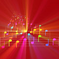 Colorful notes sheet music glowing Royalty Free Stock Photo