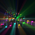 Colorful notes sheet music glowing Stock Image