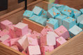 Colorful nougat cubes in traditional bakery