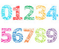 Colorful numbers with finger prints pattern vector illustration Royalty Free Stock Photo