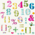 Colorful numbers set signs Stock Image