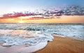 Colorful ocean beach sunrise. Royalty Free Stock Photo