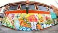 Colorful Ode to Railroad Workers Mural on Main Street in Memphis, Tennessee. Royalty Free Stock Photo