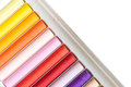 Colorful oil pastels closeup of in row Royalty Free Stock Photos