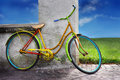 Colorful old bike Stock Photography