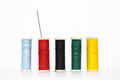 Colorful old style threads on white background Royalty Free Stock Photo