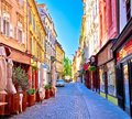 Colorful old town street in Ljubljana Royalty Free Stock Photo