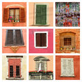 Colorful old windows collage lovely images from italy Royalty Free Stock Photos