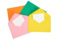 Colorful open envelope with paper isolated opened blank sheet Stock Photography