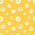 Colorful orange white and yellow daisy flowers seamless pattern background illustration