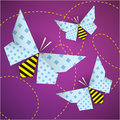 Colorful origami bees with patterns and paths Stock Photography