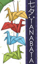 Colorful Origami Cranes Decoration Hanging over Bamboo for Tanabata Festival, Vector Illustration