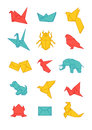 Colorful origami icons pack Stock Photography