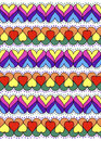 Colorful ornament of hearts. Abstract background texture. Hand drawn. Royalty Free Stock Photo