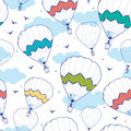 Colorful ot air balloons seamless pattern vector hot background with hand drawn elements Royalty Free Stock Photos