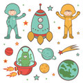 Colorful outer space collection cute Royalty Free Stock Image
