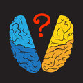 Colorful outline brain mark with question mark.