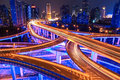 Colorful overpass at night Royalty Free Stock Photo